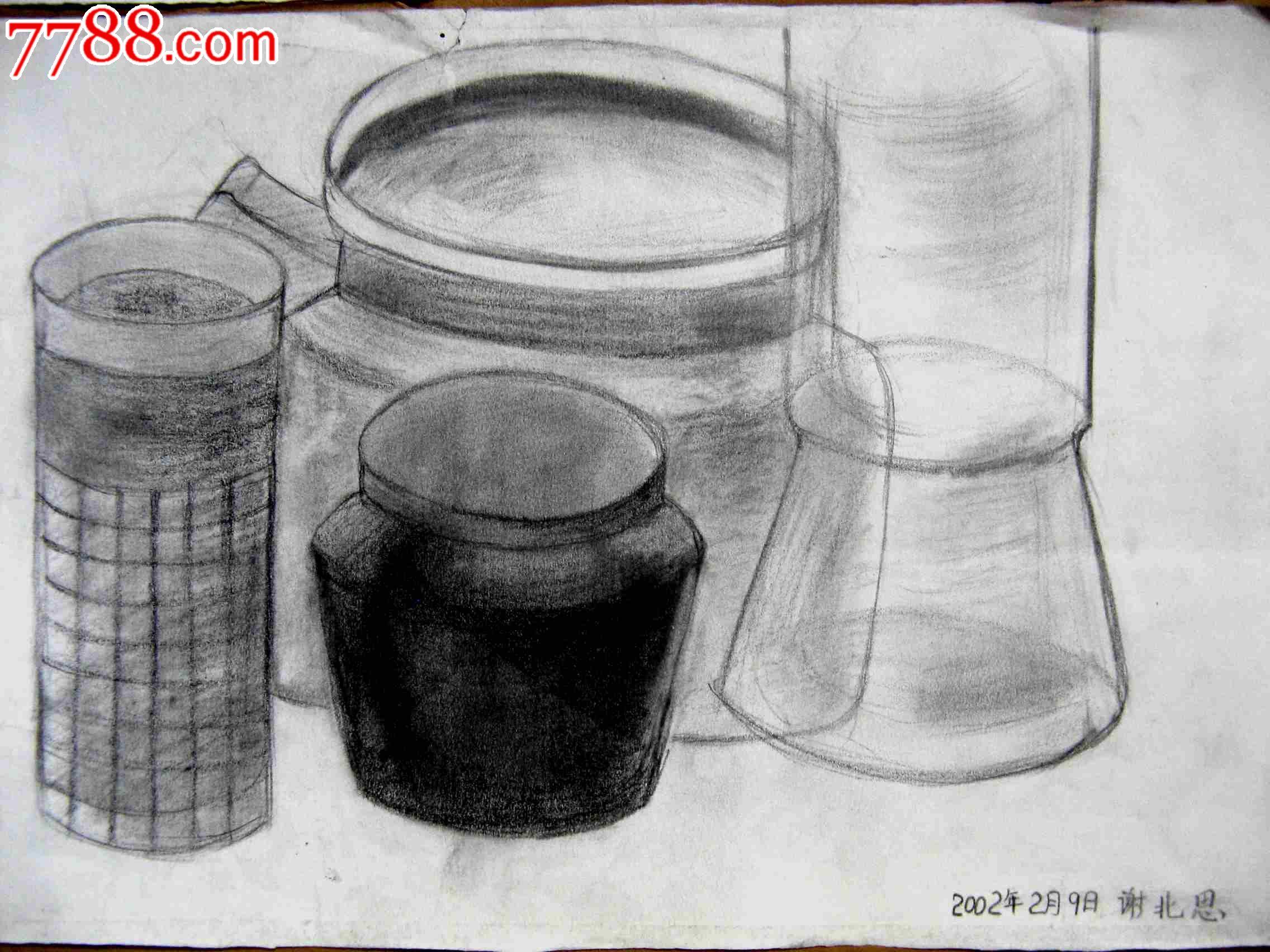 铅笔素描画2幅:静物几何图形图片