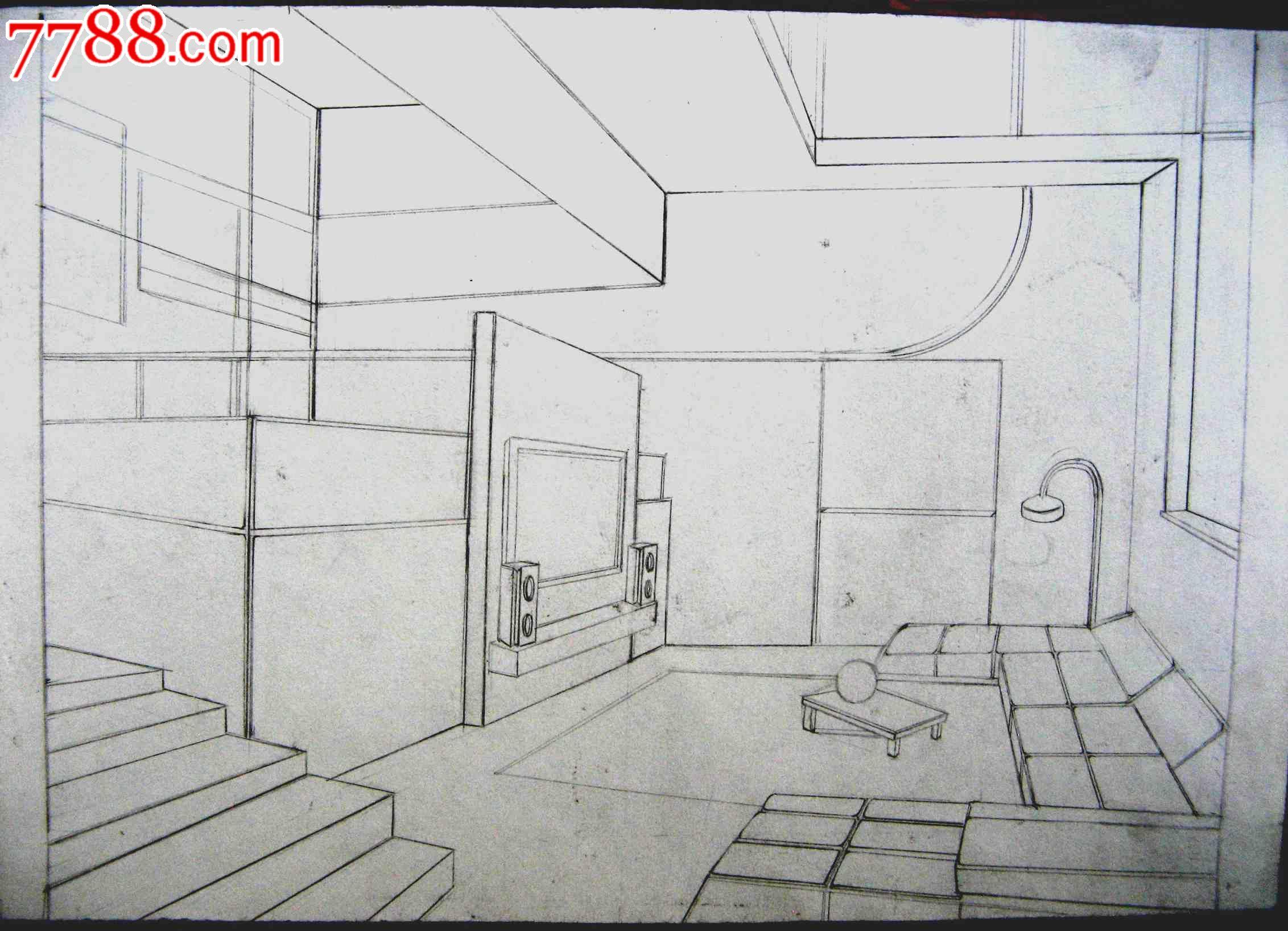 铅笔素描画2幅:室内设置