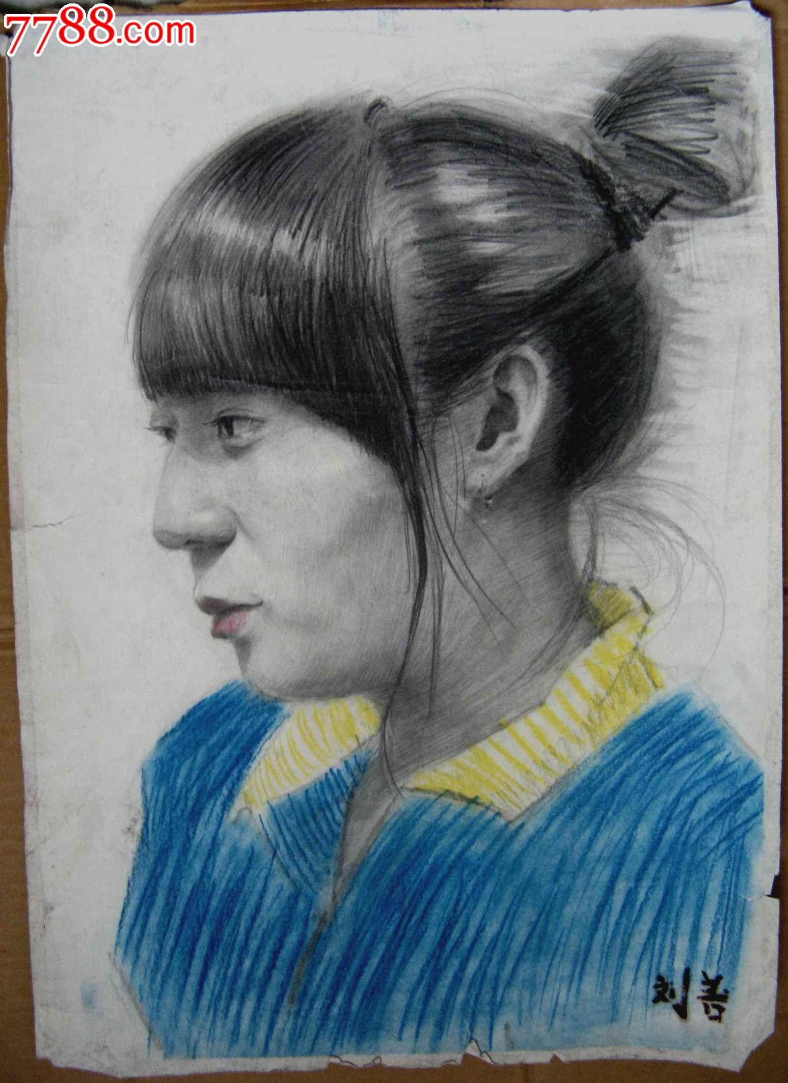 铅笔素描写生人物图:少女侧面像