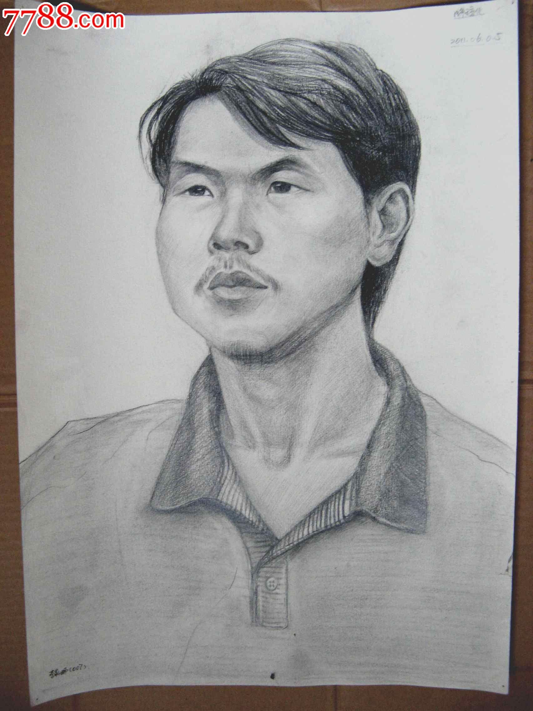 铅笔素描写生人物图:男青年头像_价格元_第1张_7788收藏__中国收藏