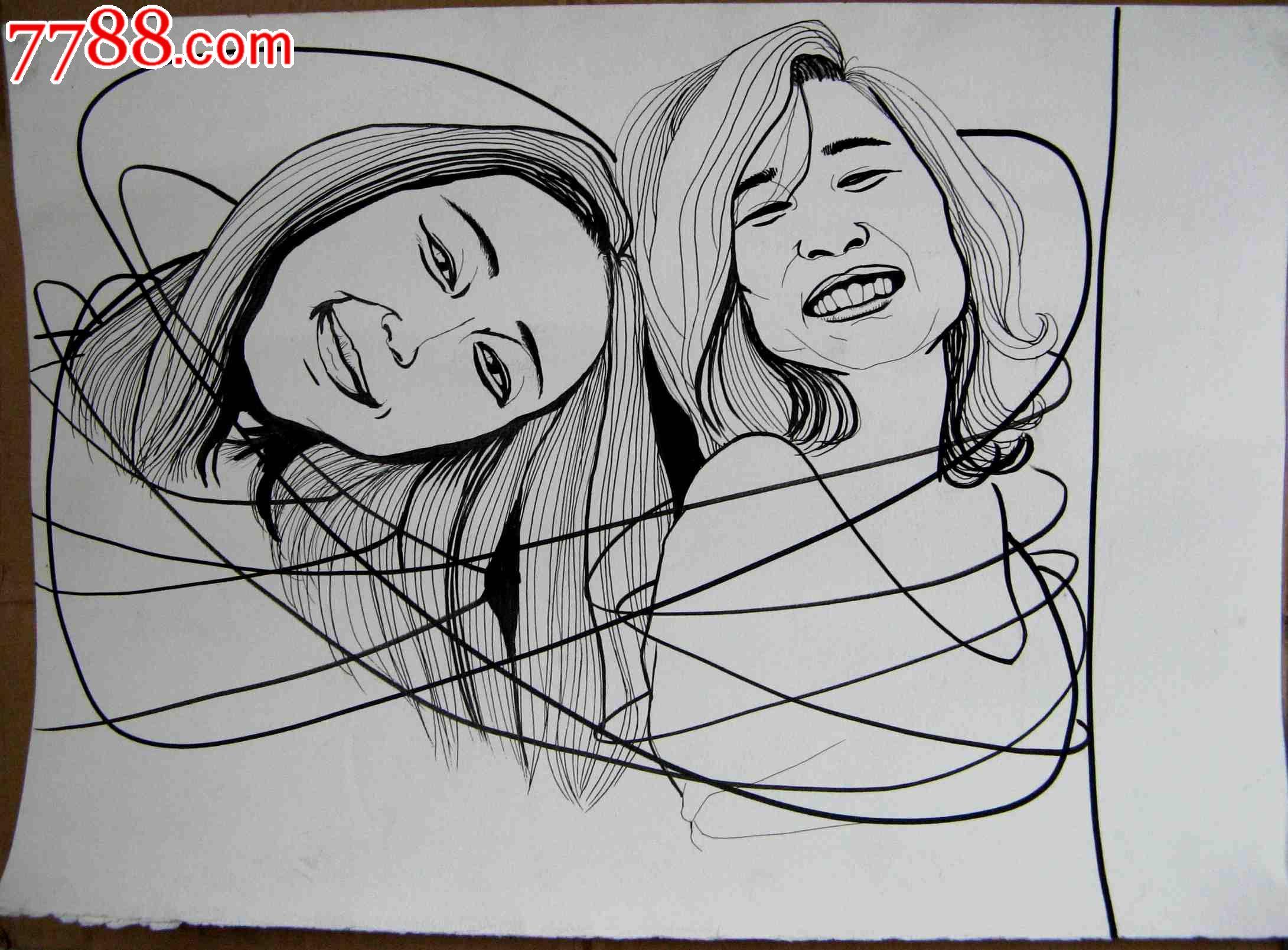 钢笔素描人物画:欢快的少女