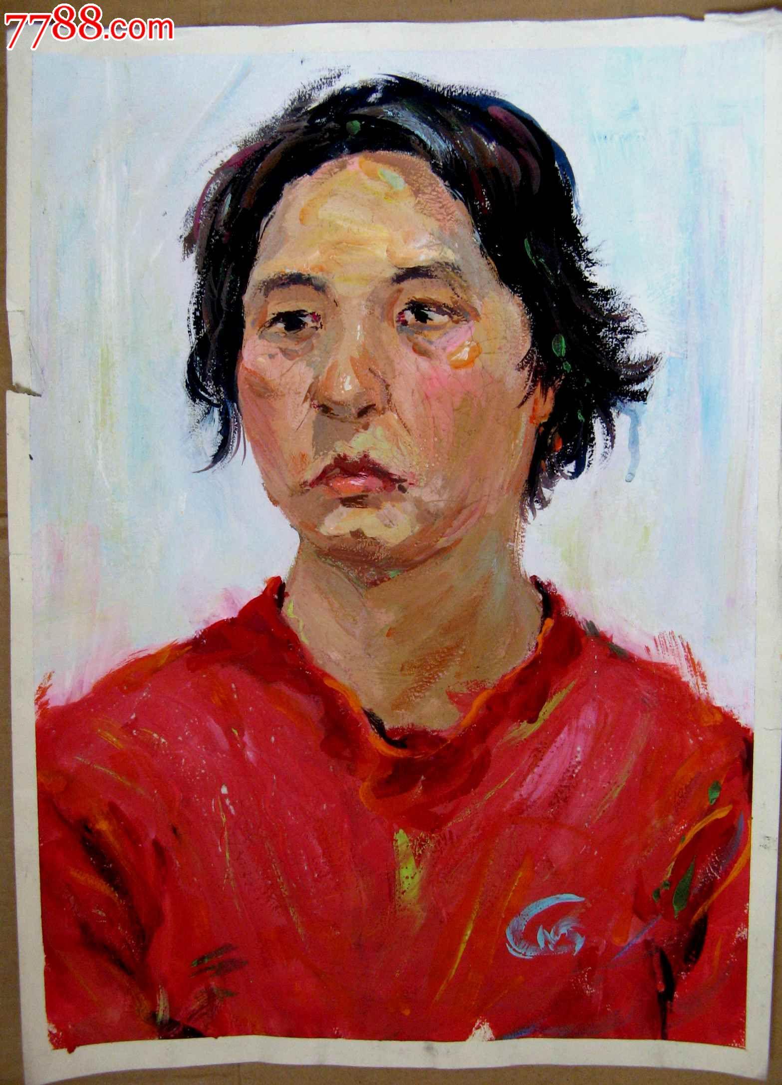 四开水粉人物画:红衣妇女