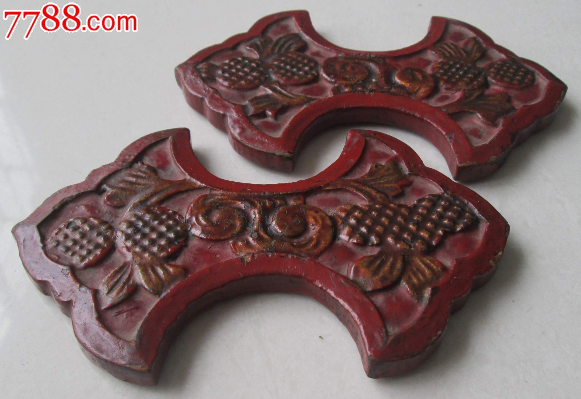 木雕女工绕线板缠线板一对