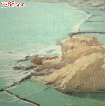 pfwp3-画家布面风景油画原作《海边》,有款,画面漂亮