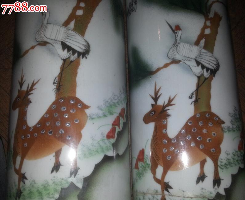 特价民国印花贴花动物麋鹿精神帽筒一对包老稀少瓷器标本