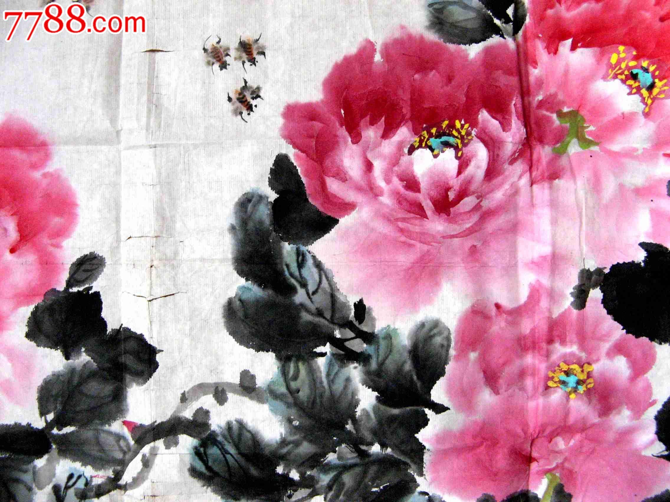 陕西画家三尺横幅牡丹画《唐王维红牡丹诗意》