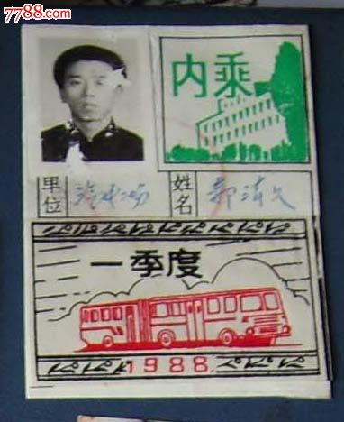 八十年代(20世纪),乘车票/证/卡