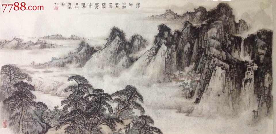 山画水墨画-著名 山水画家 郑守宽6尺横幅 山水 画 水墨 精品