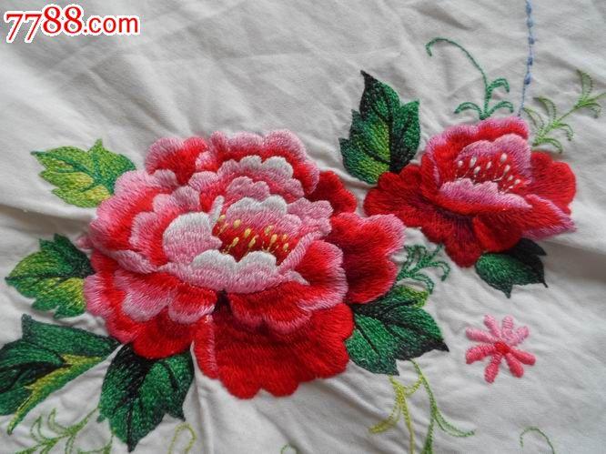 山水,垂柳,缠枝梅花,菊花,牡丹花枕套(济南刺绣厂出品图片