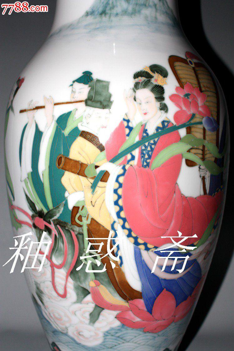 易建虹陶瓷大师作品—釉下五彩八仙过海花瓶