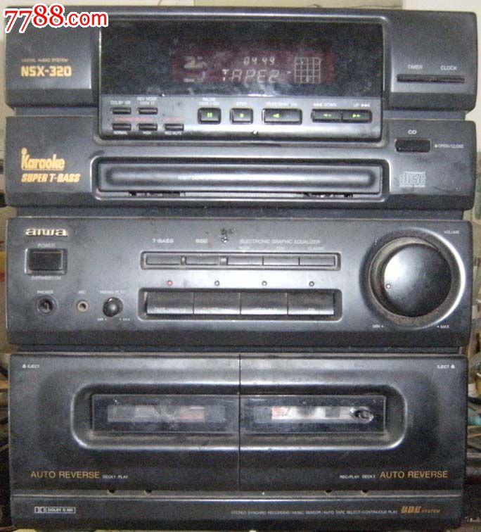 老电器组合音响/录音座/功放机/收音机aiwa(爱华nsx-320)原装遥控器