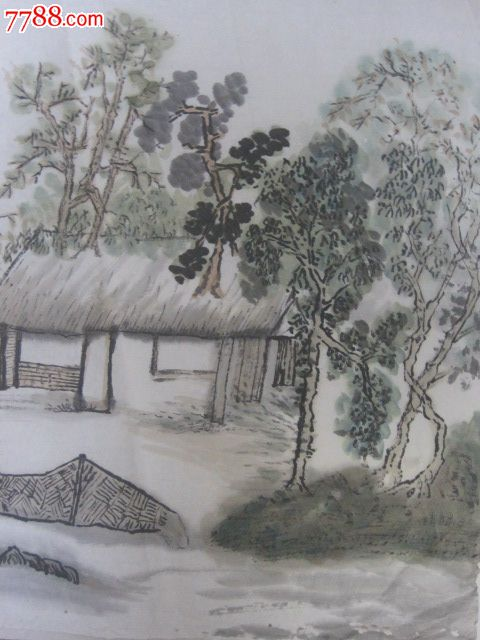 无款山水画,手绘原稿图片