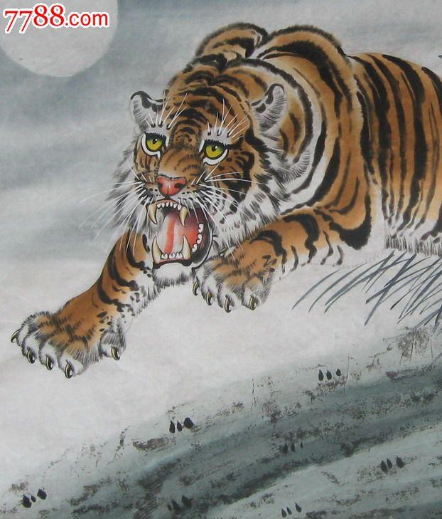 国画动物画手绘六尺国画水墨老虎十二生肖虎五虎