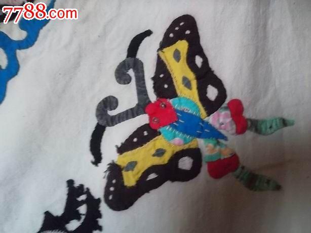 民国布堆宝塔,蝴蝶,鱼鹿门帘_布贴画/布堆画_坤都河