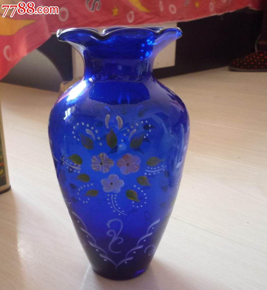 怀旧经典收藏民国手绘花卉图案纯蓝色玻璃摆瓶