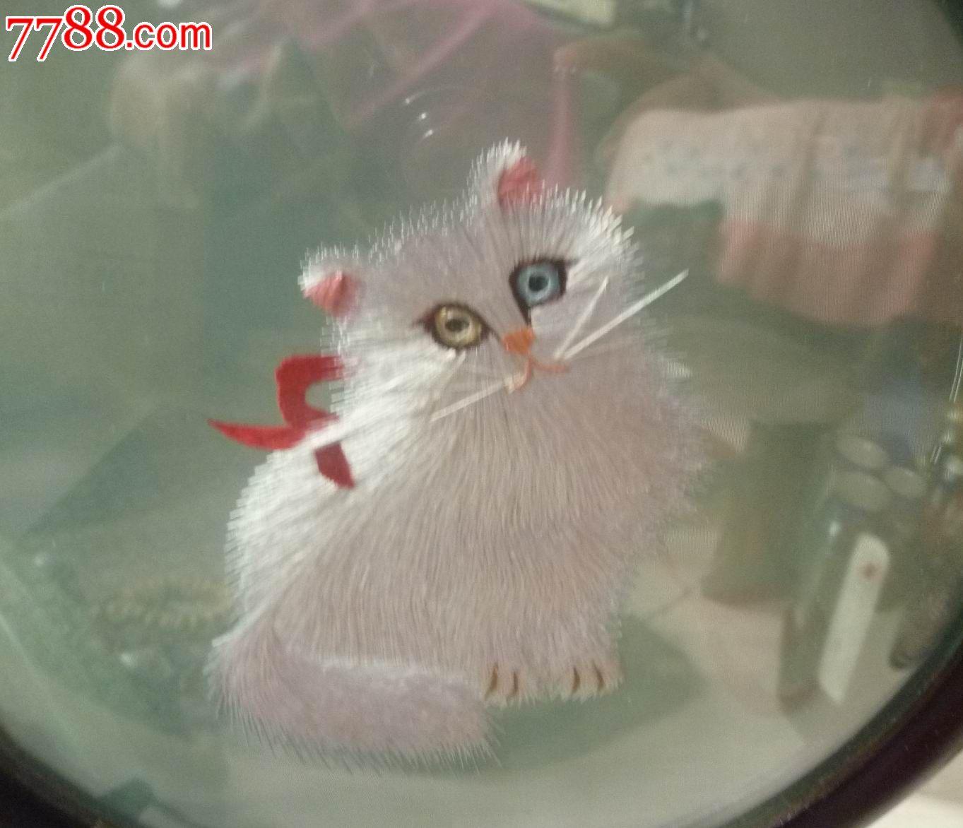 怀旧经典收藏中国传统苏绣可爱小猫双面绣玻璃木头插屏